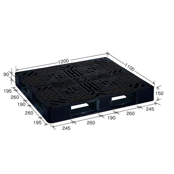 岐阜プラスチック工業 プラスチックパレット J-D4・1211 片面使用ブラック 1200×1100mm【代引不可】