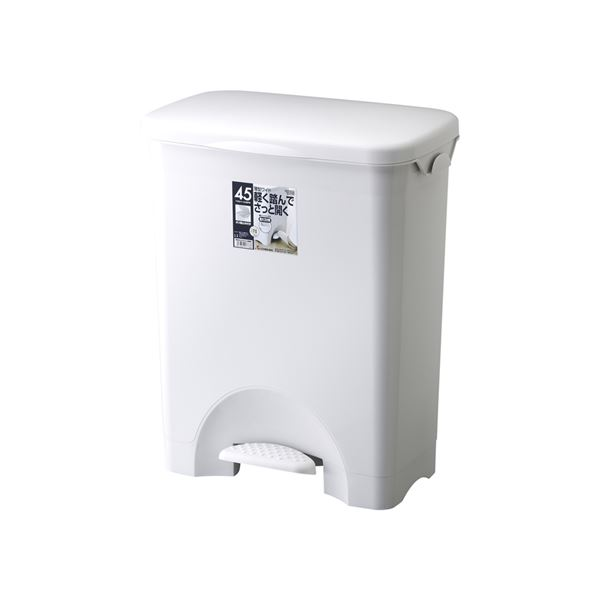 【6セット】 ペダル式 ゴミ箱/ダストボックス 【45PS】 グレー フタ付き 本体:PP 『HOME&HOME』【代引不可】