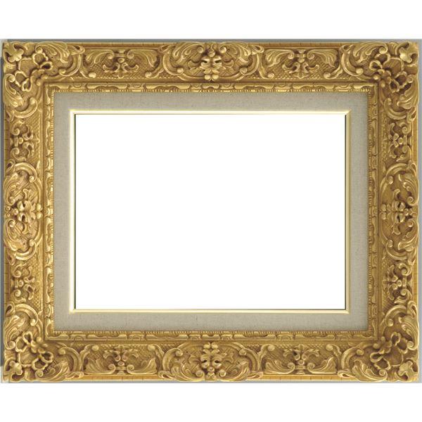 油絵額縁/油彩額縁 【F4 ダークゴールド】 縦42.8cm×横52.9cm×高さ9.5cm 表面カバー:ガラス 総柄彫り 黄袋 吊金具付き