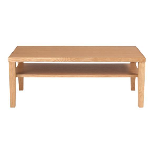 センターテーブル(ローテーブル/リビングテーブル) 長方形 幅100cm 木製/ウォールナット突板 収納棚付き 『シーマ』 ナチュラル