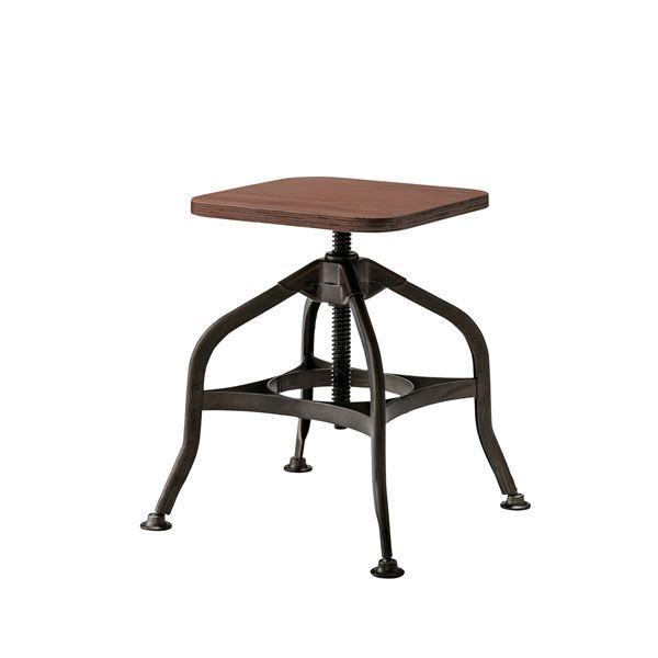 スチールフレームスツール/腰掛け椅子 【高さ調節可】 高さ40-59cm 木目調 PC-38