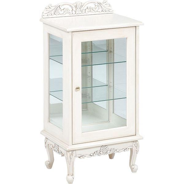 ガラスキャビネット ヴィオレッタシリーズ 木製 RCC-1752 アンティーク調ホワイト(白) 【代引不可】