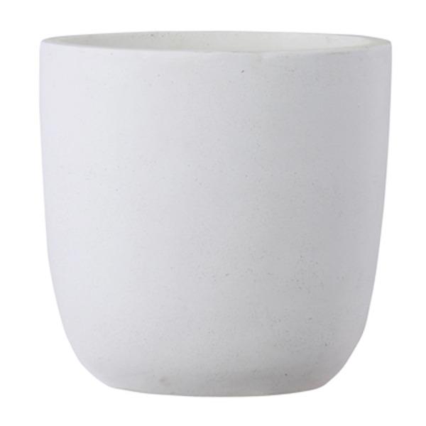 ファイバークレイ製 軽量 大型植木鉢 バスク ラウンド 43cm ホワイト【送料無料】