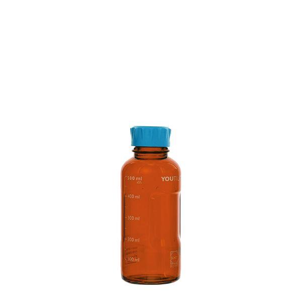 【柴田科学】ユーティリティーねじ口びん 茶褐色 水キャップ付 500mL【4個】