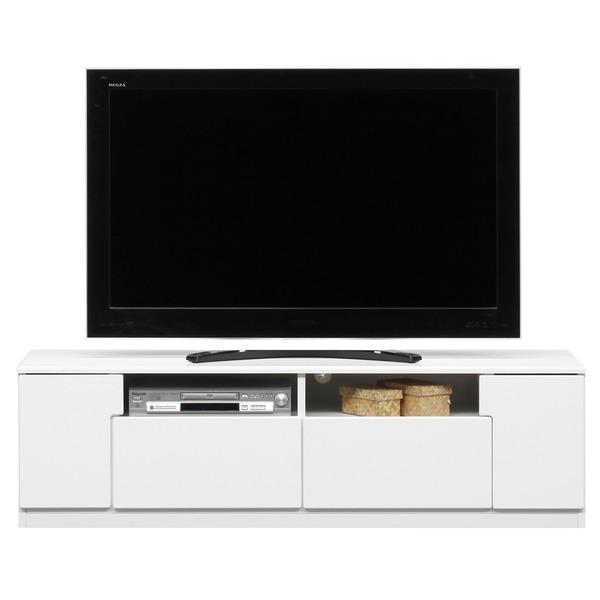 ローボード(テレビ台/テレビボード) 木製 幅150cm オープン収納棚付き 日本製 ホワイト(白) 【完成品】【代引不可】