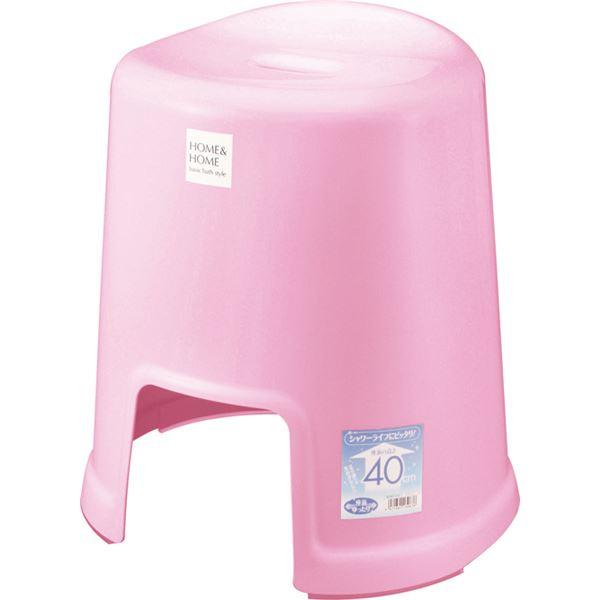【12セット】 シンプル バスチェア/風呂椅子 【400 パステルピンク】 すべり止め付き 材質:PP 『HOME&HOME』【代引不可】