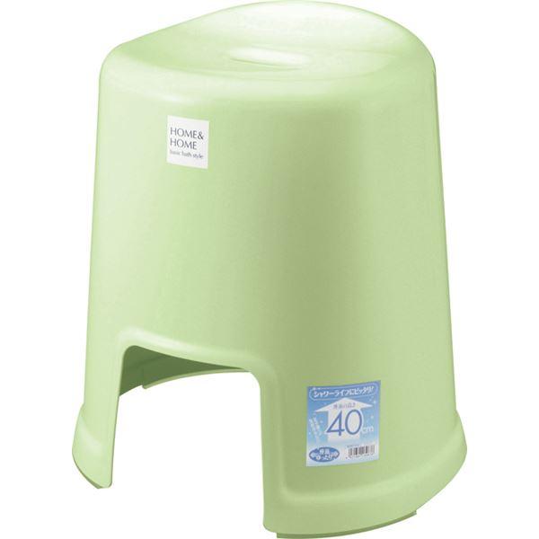 【12セット】 シンプル バスチェア/風呂椅子 【400 パステルグリーン】 すべり止め付き 材質:PP 『HOME&HOME』【代引不可】