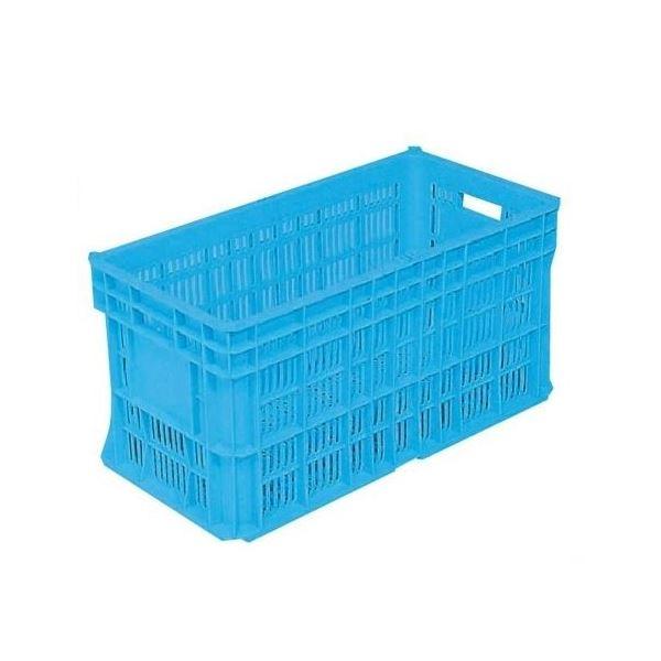【3個セット】 リステナー/網目コンテナボックス 【MB-60A 穴あり】 ブルー メッシュ 〔みかん 果物 野菜収穫 保管 保存 物流〕【代引不可】