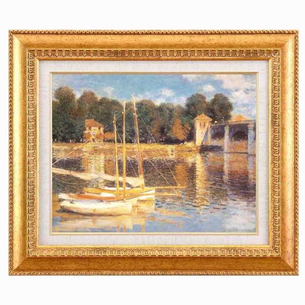 【世界の名画】名画額縁 複製画 絵画額 ■モネ名画額F6金「アルジャントーユの橋」 ひも付き