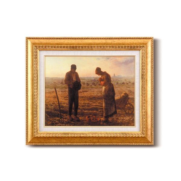 【世界の名画】名画額縁 複製画 絵画額 ■ ミレー名画額F6金「晩鐘」 ひも付き