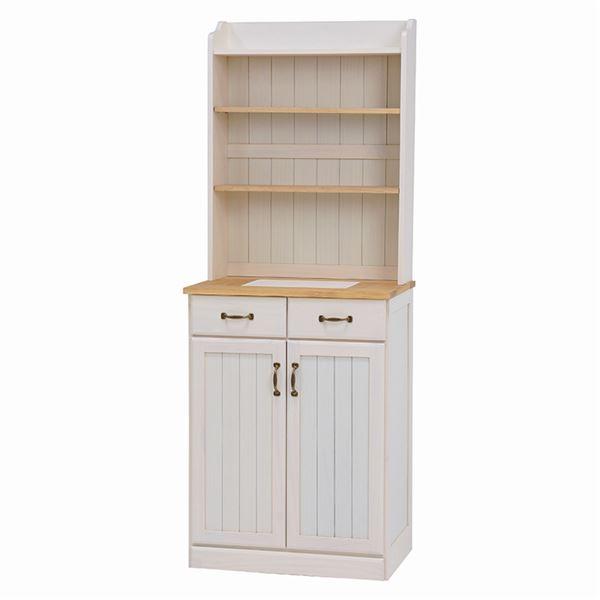 アンティーク調キッチンカウンター/キッチン収納 【幅59cm】 木製 ナチュラルアイボリー MUD-6532NIV【代引不可】