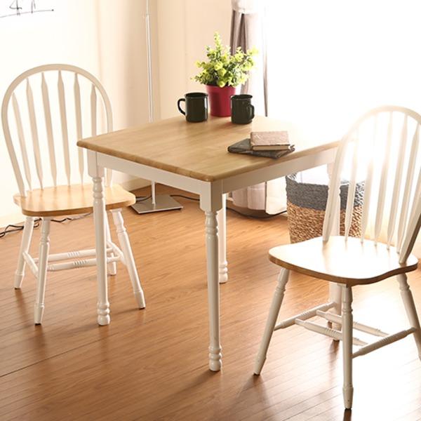 ダイニングテーブル/リビングテーブル 単品 【ホワイト×ナチュラル 幅74cm】 木製 『マキアート』【代引不可】
