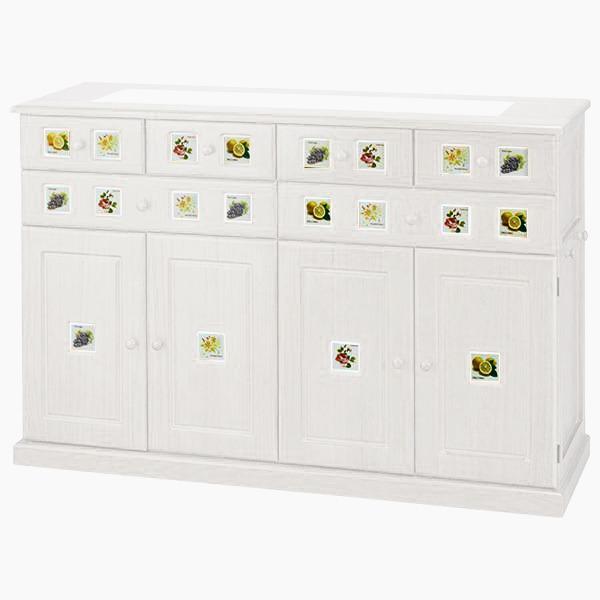 南欧風キッチンカウンター ホワイトウォッシュ 【3: 幅120cm】