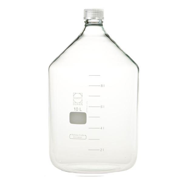 【柴田科学】ねじ口びん(メジュームびん) 透明キャップ付 10L