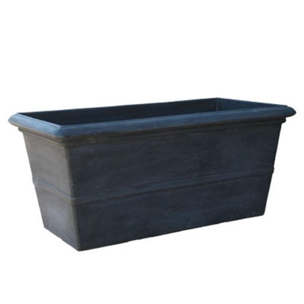 植木鉢/プランター 【グレー】 長さ100cm 長方形 軽量 底穴有 新素材テラミックス TM 〔園芸 ガーデニング用品〕