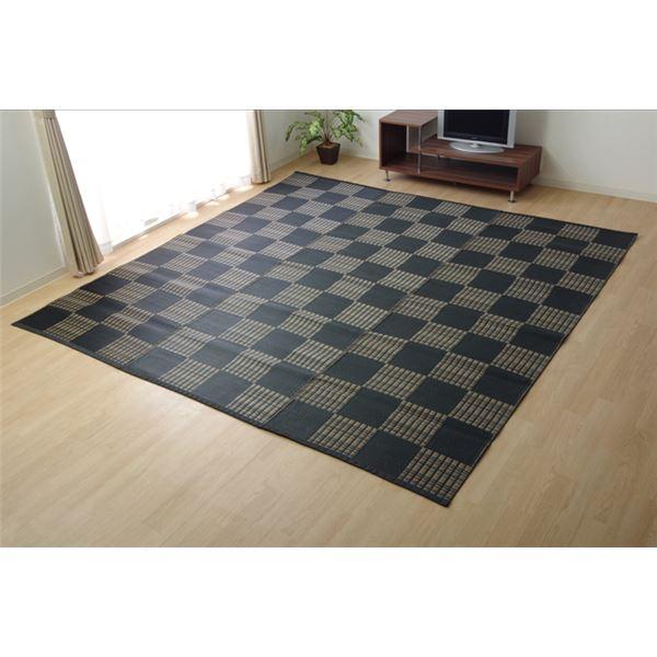 ラグ 洗える PPカーペット 『ウィード』 ブラック 本間6畳(約286.5×382cm)