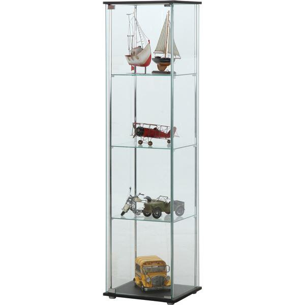 ガラス製 コレクションケース/ショーケース 【4段】 ブラウン 幅42.5cm 硝子製棚板2枚 脚付き 〔什器 店舗〕【代引不可】