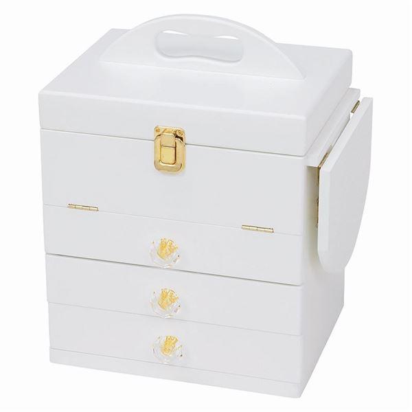 大容量コスメボックス/メイクボックス 【ホワイト】 幅26cm 持ち手/ミニテーブル/三面鏡付き MUD-6835WH【代引不可】