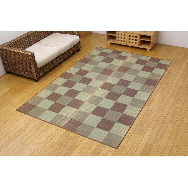 純国産 い草花ござカーペット 『ブロック』 ブラウン 江戸間6畳(261×352cm)