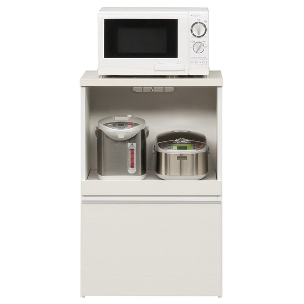 キッチンカウンター 幅60cm 二口コンセント/スライドテーブル/引き出し付き 日本製 ホワイト(白) 【完成品】【代引不可】