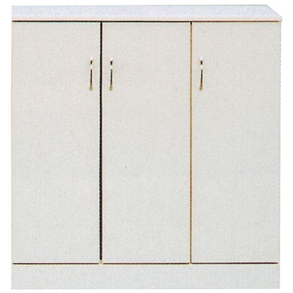 ローシューズボックス(下駄箱) 幅90cm×奥行38cm×高さ92cm 日本製 ホワイト(白) 【完成品】【代引不可】