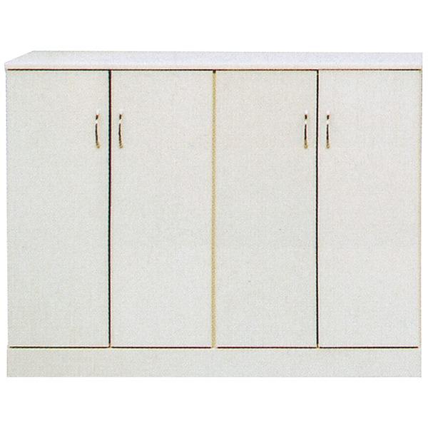 ローシューズボックス(下駄箱) 幅120cm×奥行38cm×高さ92cm 日本製 ホワイト(白) 【完成品】【代引不可】