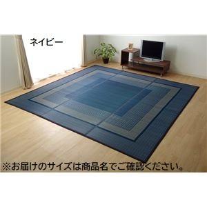ラグ い草 シンプル モダン『DXランクス』 ネイビー 江戸間4.5畳 約261×261cm (裏:不織布)