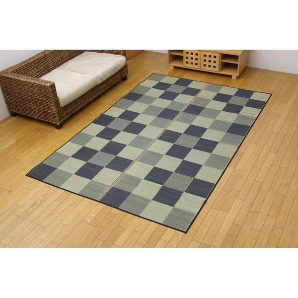 純国産 い草花ござカーペット 『ブロック』 グレー 江戸間3畳(174×261cm)