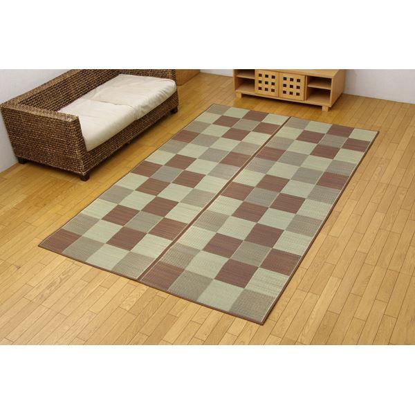 純国産 い草花ござ 『Fブロック』 ブラウン 江戸間6畳(261×352cm)(裏:ウレタン)