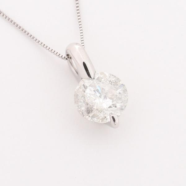 プラチナ2点留 1ctダイヤモンドペンダント/ネックレス ベネチアンチェーン(鑑別書付き)