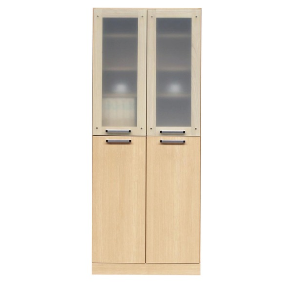 フリーボード(キャビネット/キッチン収納) 【幅74cm】 木製 ガラス扉/可動棚付き 日本製 ナチュラル 【完成品】【代引不可】