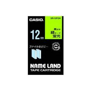 (業務用50セット) カシオ CASIO 蛍光テープ XR-12FGN 緑に黒文字 12mm ×50セット