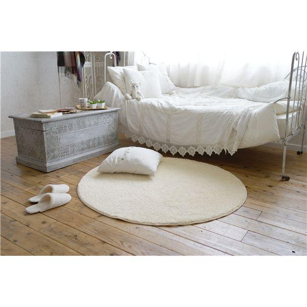 防ダニ ラグマット/絨毯 【120×120cm 円形 ホワイト】 日本製 洗える 防滑 『スミノエ レーヴ』 〔リビング ダイニング〕【代引不可】