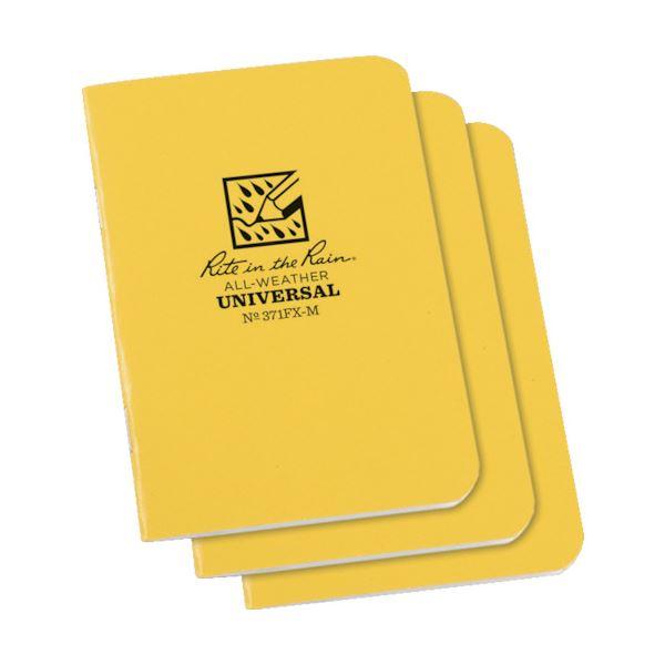 (まとめ) ライトインザレインミニステイプルノートブック(セット) イエロー 371FX-M 1パック(3冊) 【×5セット】