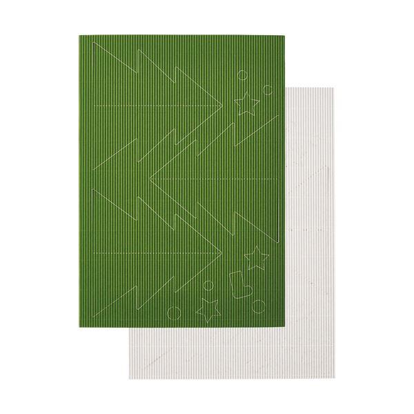 RBUT2 緑・白 リップルボード 【×30セット】 (まとめ) ヒサゴ 薄口 1パック 型抜きクリスマスツリー