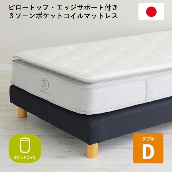 日本製 3ゾーンポケットコイルマットレス ピロートップ ダブル やわらかめ仕様 エッジサポート 圧縮梱包【代引不可】