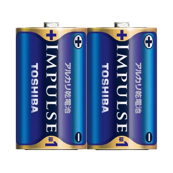 (まとめ)東芝 インパルス アルカリ乾電池 単1電池 2個パック【×50セット】