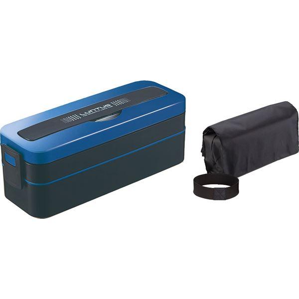 (まとめ) 大容量 ランチボックス/弁当箱 【2段】 800ml 男性向け 電子レンジ 食洗機可 ブルー 『ランタスMC』 【40個セット】