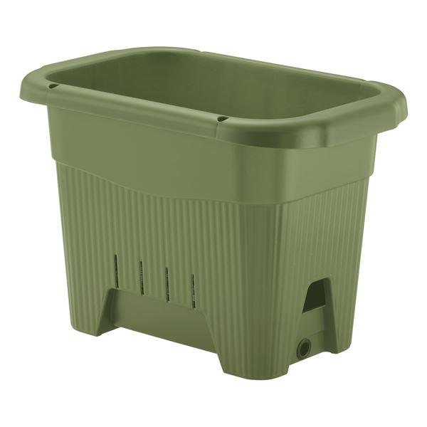(まとめ) プランター/園芸用品 【45型 グリーン】 底面給水タイプ 給水口付き 水ラク 菜園上手 【×18個セット】