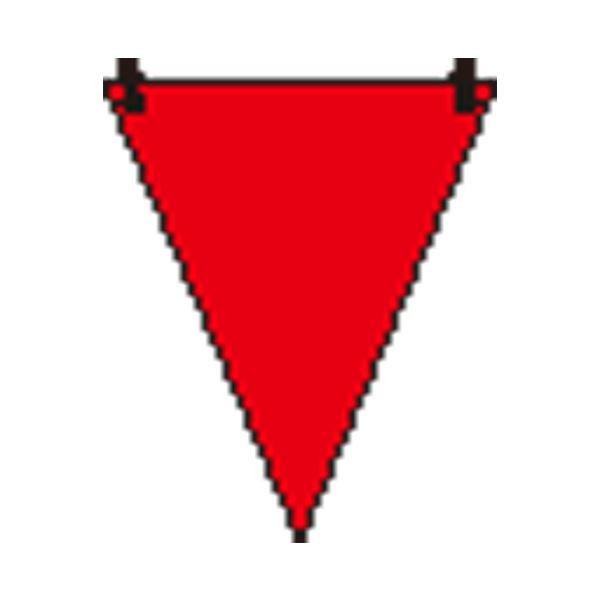 (まとめ)ユニット 三角旗 赤無地/372-61【×100セット】