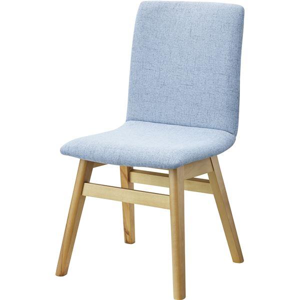 【送料無料】北欧風 ダイニングチェア/食卓椅子 【1脚 ライトブルー】 幅43cm 木製 ウレタン塗装 ポリエステル 〔キッチン 台所 店舗〕