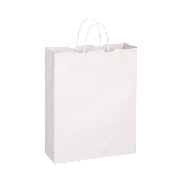 (まとめ) TANOSEE 手提袋 丸紐 大 ヨコ320×タテ400×マチ幅115mm 白無地 1パック(50枚) 【×10セット】