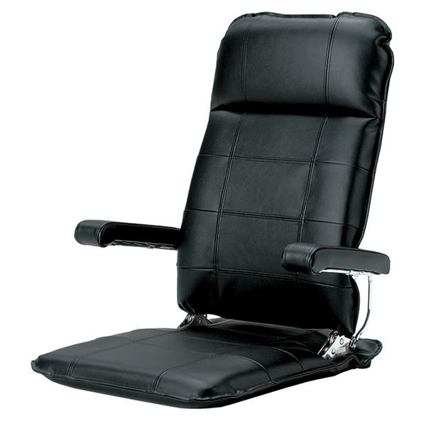 MF-本革 座椅子 フロアチェア ブラック 【完成品】