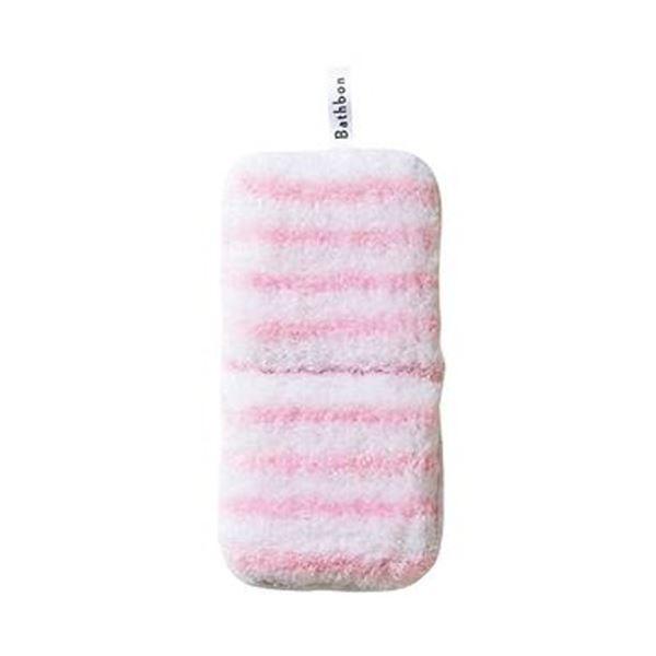 (まとめ)山崎産業 バスボンくんはさめるスポンジ抗菌 ピンク 1個【×20セット】