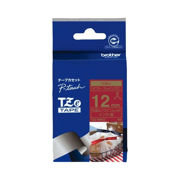 (まとめ)ブラザー リボンテープ TZe-RW34 レッドに金文字12mm【×30セット】
