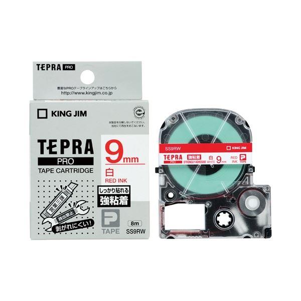 (まとめ)キングジム テプラPROテープ強粘着 白/赤文字 SS9RW【×30セット】