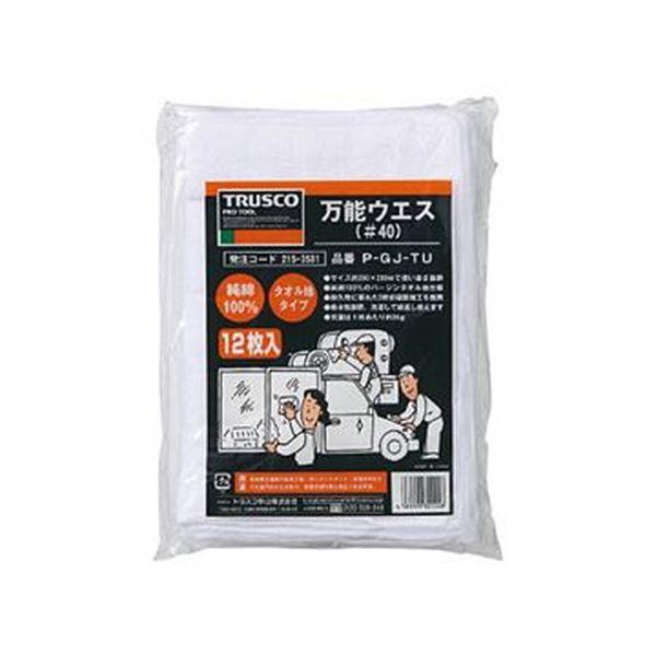 (まとめ)TRUSCO 万能ウエスシートサイズ290×200mm ホワイト P-GJ-TU 1袋(12枚)【×10セット】