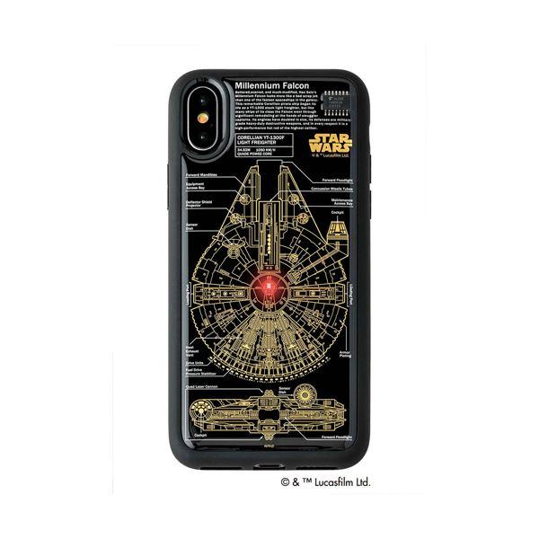 STAR WARS スター・ウォーズ グッズコレクション FLASH M-FALCON 基板アート iPhone Xケース 黒 F10B