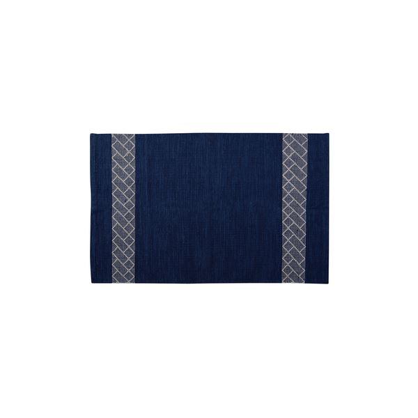 モダン ラグマット/絨毯 【ブルー 130×190cm TTR-157BL】 長方形 綿 インド製 〔リビング ダイニング フロア 居間〕