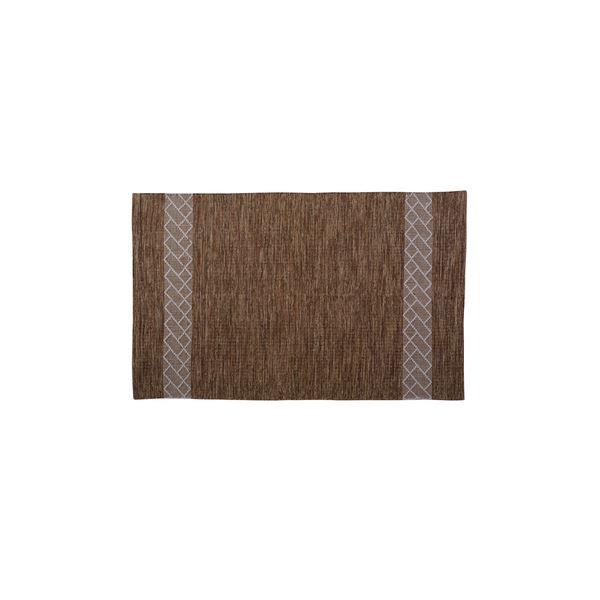 モダン ラグマット/絨毯 【ブラウン 130×190cm TTR-157BR】 長方形 綿 インド製 〔リビング ダイニング フロア 居間〕